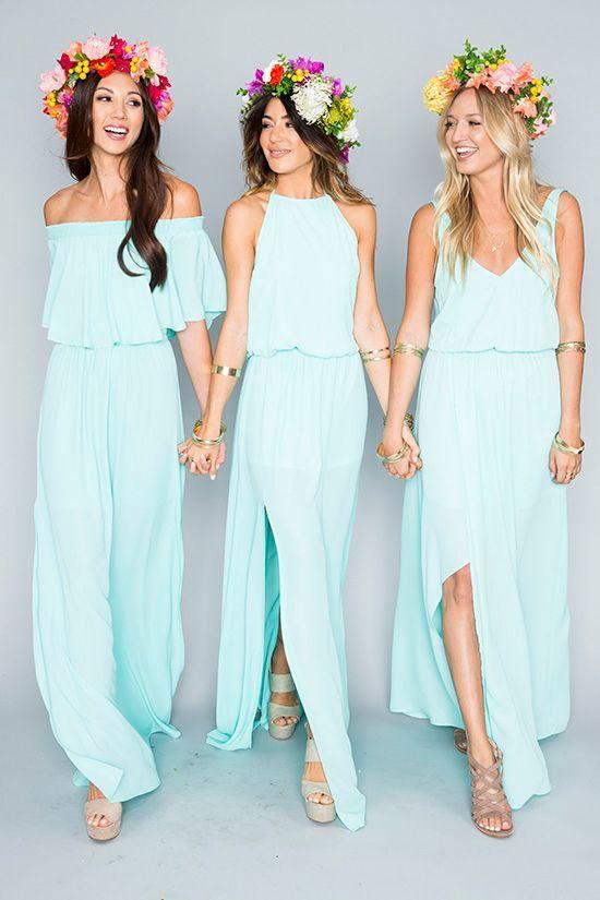 2018 Summer Beach Mumu Bohemian Mint Green Vestidos de dama de honor Estilo mixto Flow Chiffon Side Split Boho Custom Made Vestidos de dama de honor baratos