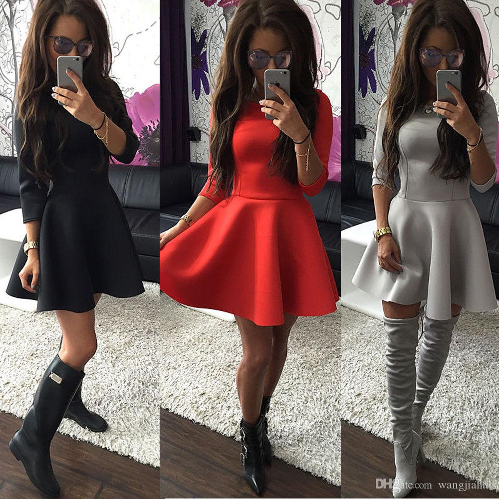 5abe0b1e0 2017 Casual Dresses Women's clothes Women Fashion 3/4 Sleeve Mini Skater  Dress Winter Evening Party Skirt Dresses UK
