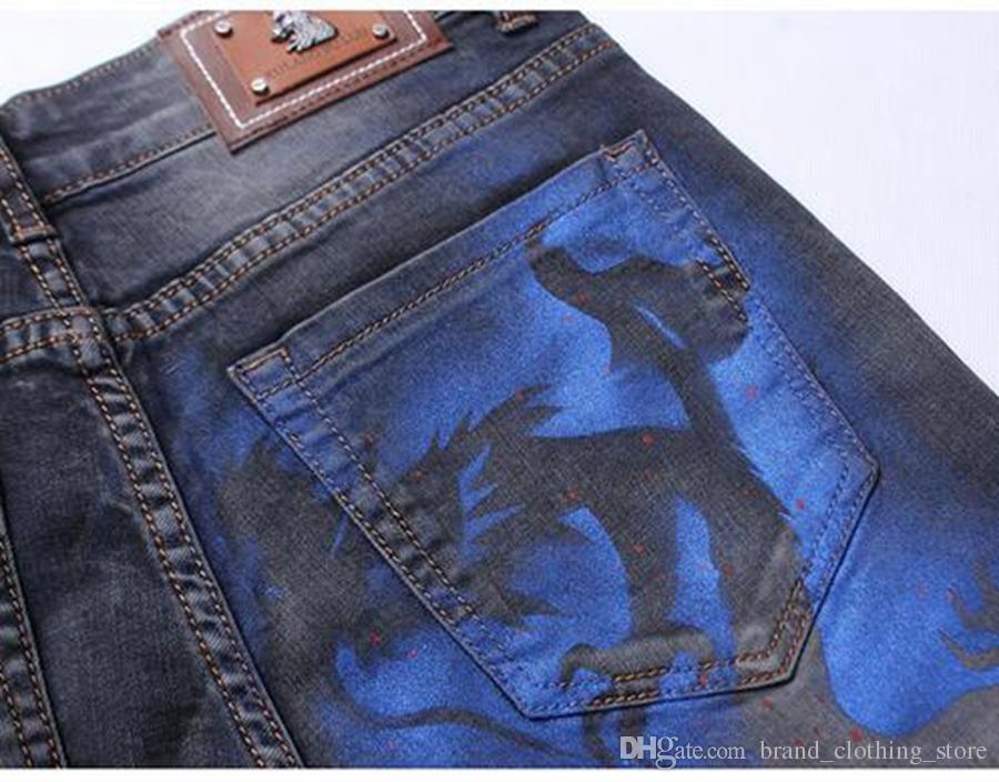 La tendenza della moda maschile nella nuova edizione dell'Hans coltiva la personalità della moralità attraverso i pantaloni in denim di cotone stampato 3465 / 28-38