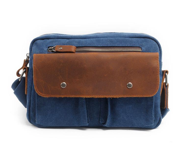 Sac à bandoulière en toile à la taille pour homme avec sac à bandoulière en cuir pour loisirs, petit sac vintage