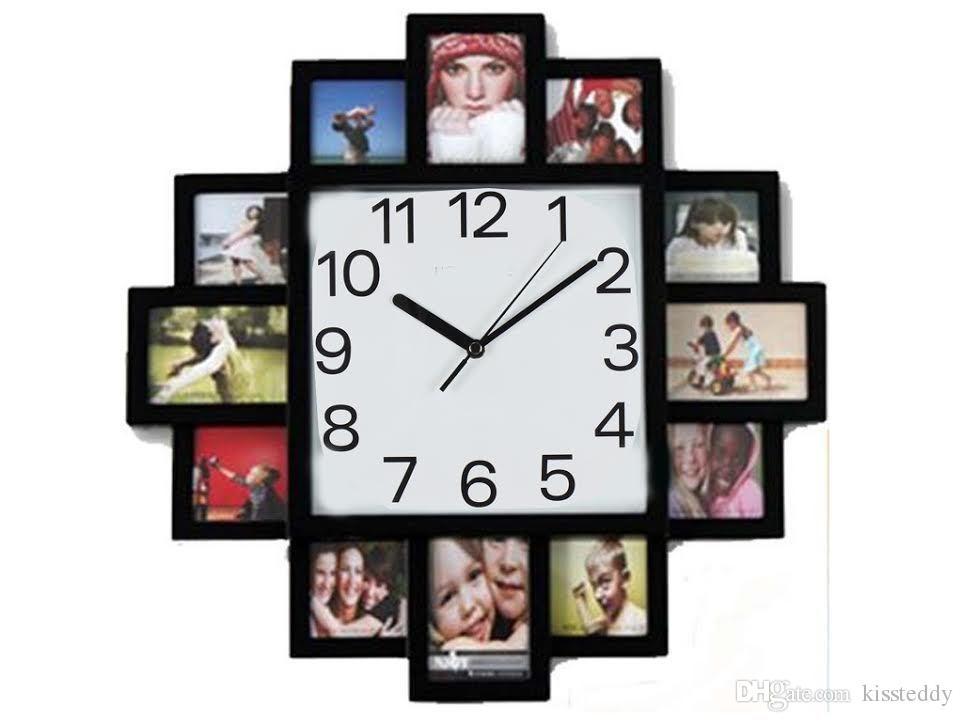Compre Reloj De Pared De Marco De Foto Digital Negro Colgante ...