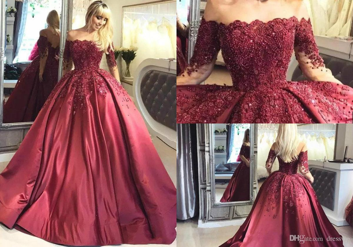 Glamorous Off Shoulder Burgundy Ball Gown Arabic Quinceanera Dresses ...