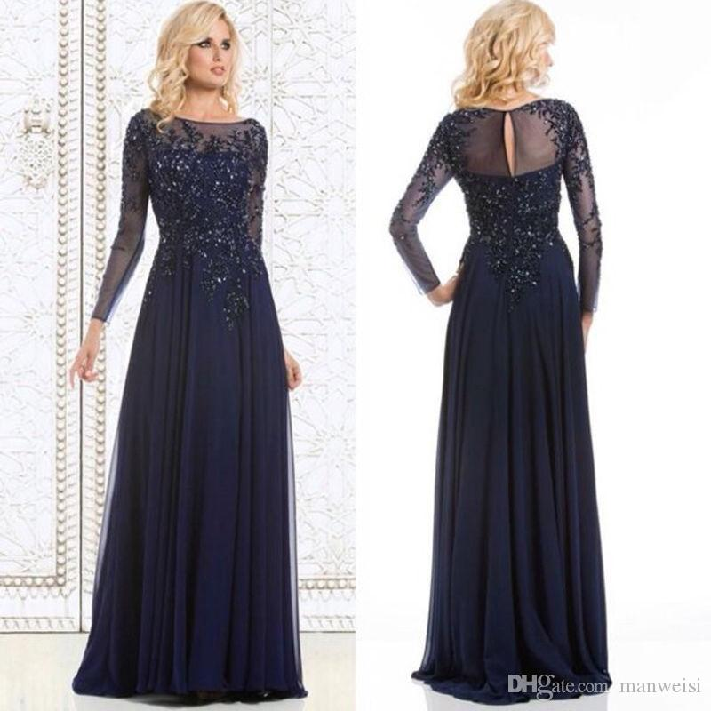Navy Blue Mother Of The Bride Dresses Long Sleeve Beads Cheap Lace Wedding Guest Dress Plus Size Mothers Groom Formal Gowns