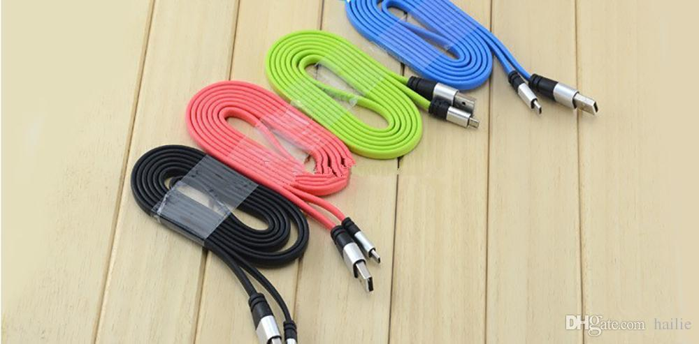 2.0A Real High Speed 1M 3FT Micro USB Flat Noodle Cable Charger Sync Data Extra Charging Line Aluminum Metal Head Charge Cord For Samsung L