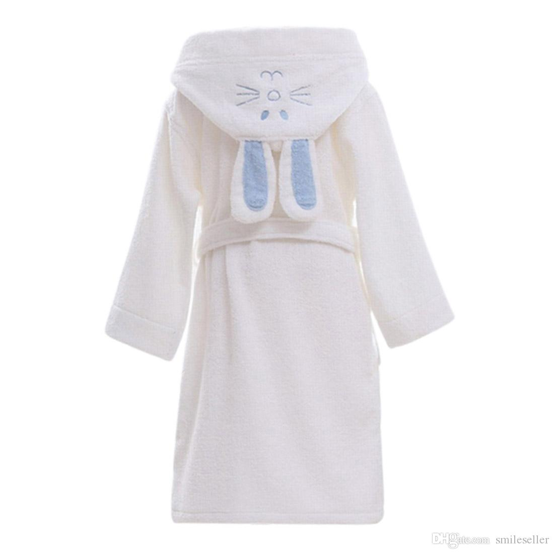 Children Hooded Bathrobe Towel Kids Boys Girls Cotton Lovely Robes ...