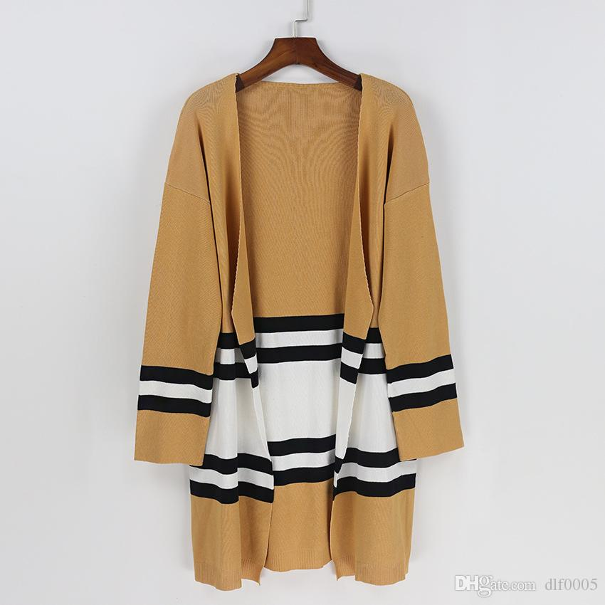 2018 Women'S Striped Cardigan Casual Knitted Sweater Long Sleeve ...
