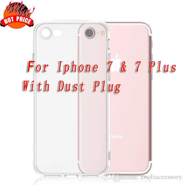 Weicher TPU Kasten mit Staub-Stecker löschen für Iphone 7 7Plus Iphone7 I7 7. 7GEN Transparentes Silikongel Gummi-Handy Shell-Haut-Abdeckungs-Luxus