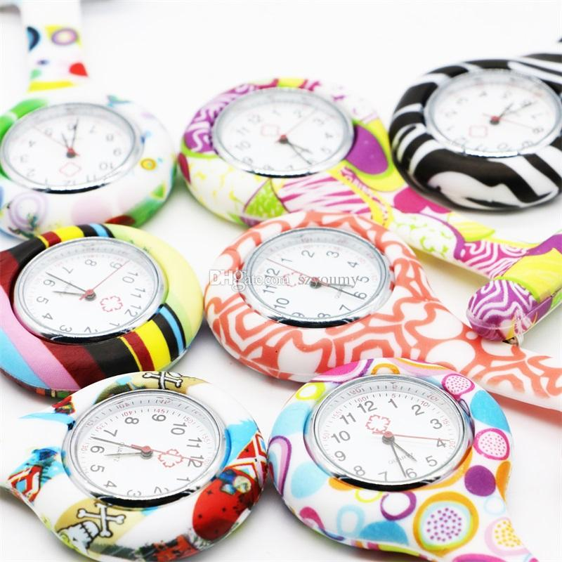 Pocket Watches Silicone Zebra Stainless Clip Pin Nurse Fob Watch Quartz Brooch Pendant Hot Geometric Flowers Doctor Paramedic