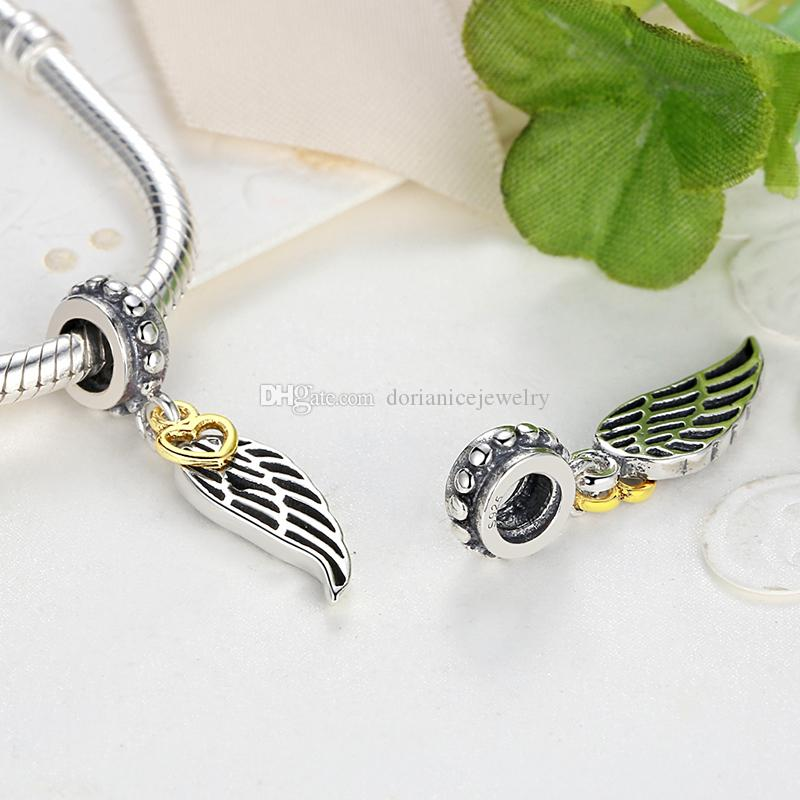 925 Sterling Silver Leaf Pendant Charms with Glimmering 14K Gold Plated Hearts Dangles for DIY Bracelets or Necklaces Jewelry Making S333