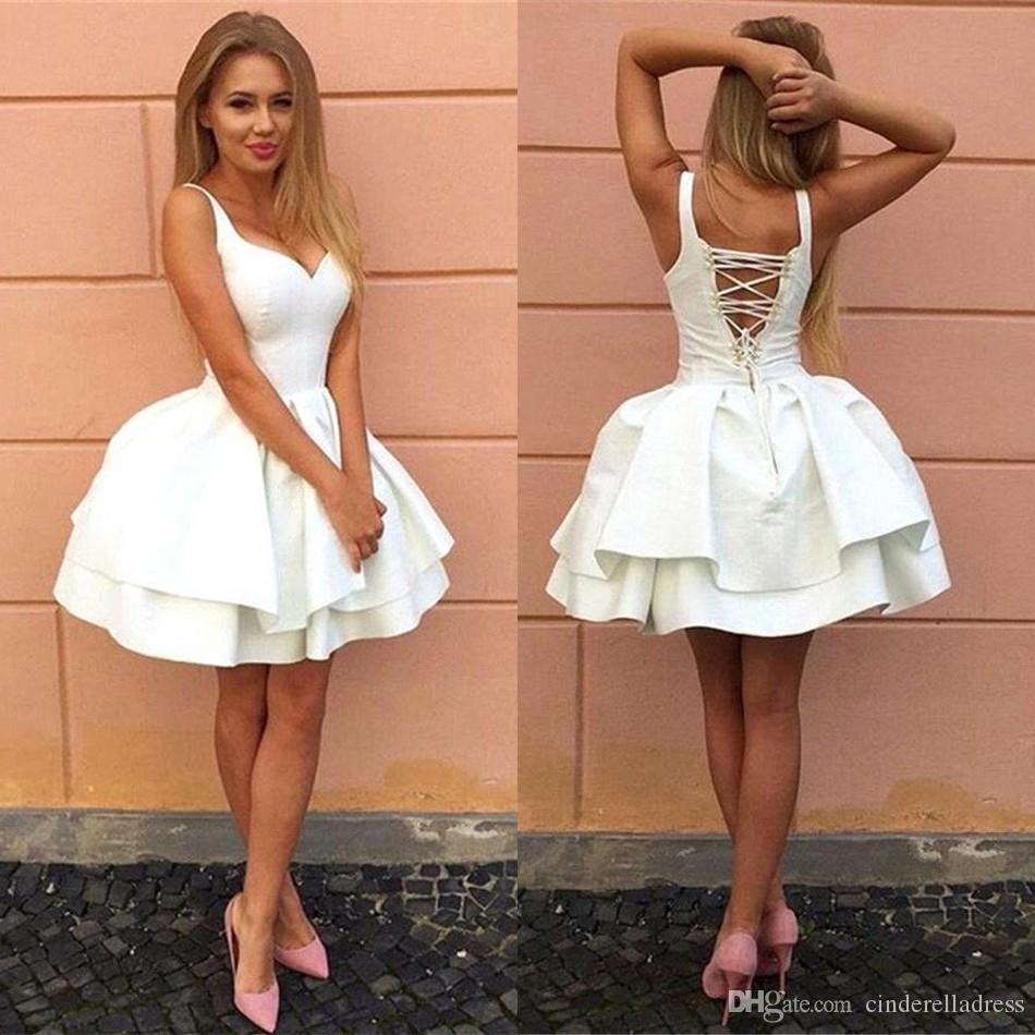 a33c7db5939e 2018 Little White Short Homecoming Dresses Spaghetti Straps Ball Gown Lace  Up Backless Short Prom Gowns BA7022 Best Dresses Online Cheap Homecoming  Dresses ...
