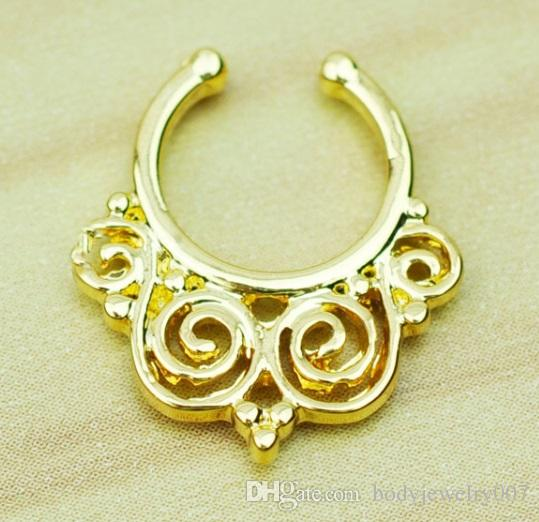 D0604   Nose Ring nose hook Nose Rings Body Piercing Jewelry Fake Septum Clicker Non Piercing Hanger Clip On Women Body Jewellry