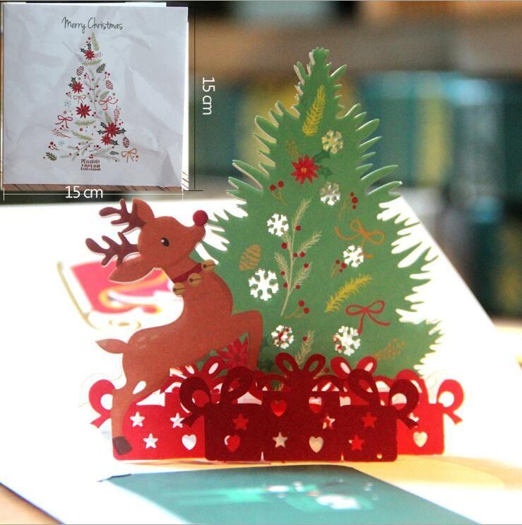 Großhandel Weihnachten Handgemachte Karten Weihnachten 3d Pop Up ...