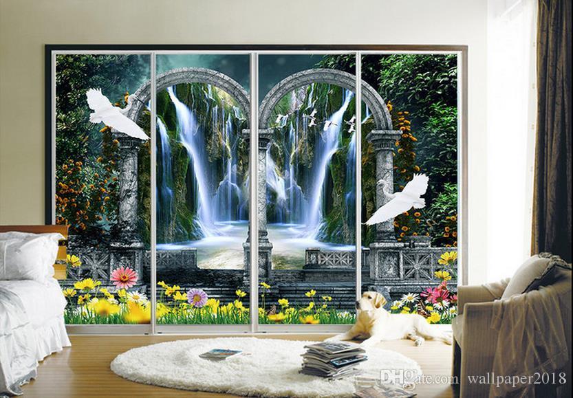 Fantasy garden oil painting wall background modern wallpaper for living room