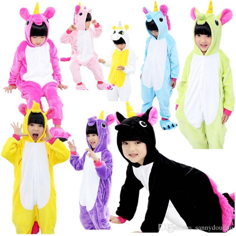 girls cute unicorn pajamas warm autumn winter homewear unicornio childrens pajamas cartoon animal pajamas for kid boy sleepwear cosplay greek costumes