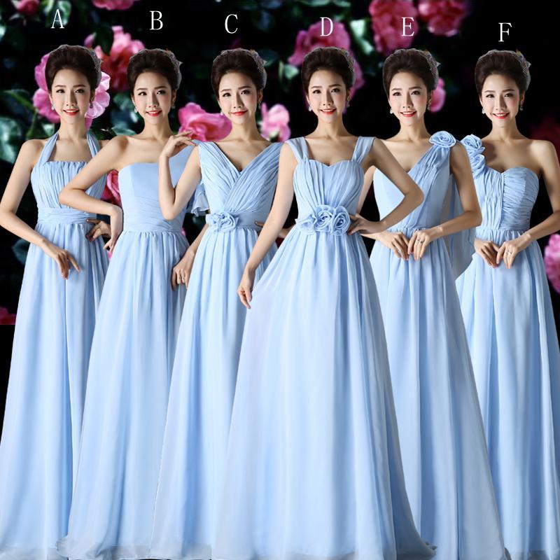Mousseline de mousseline de mousseline plissée A Ligne Robe de demoiselle d'honneur ciel bleu 2016 Plancher longueur robe de soirée dentelle