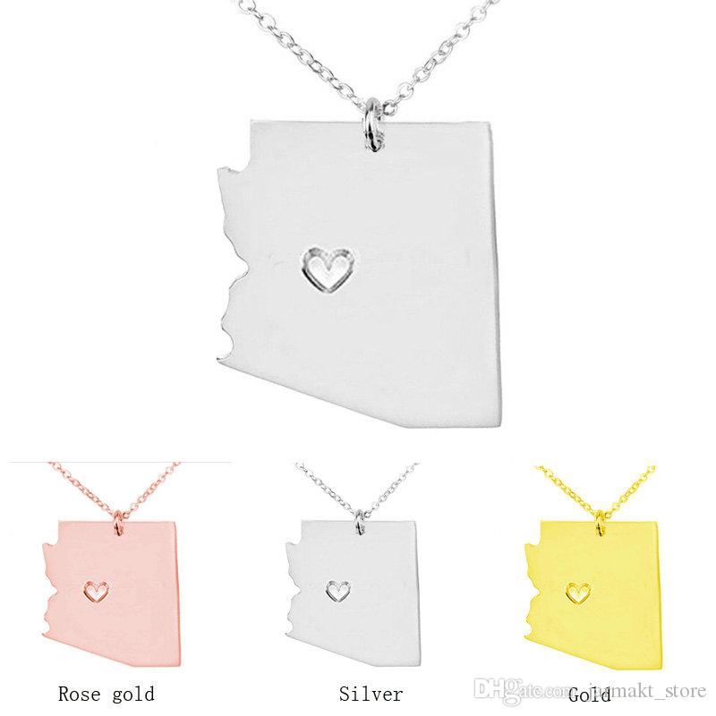 Arizona Map Store.Classic Design Arizona Map Pendant Necklace With Love Heart