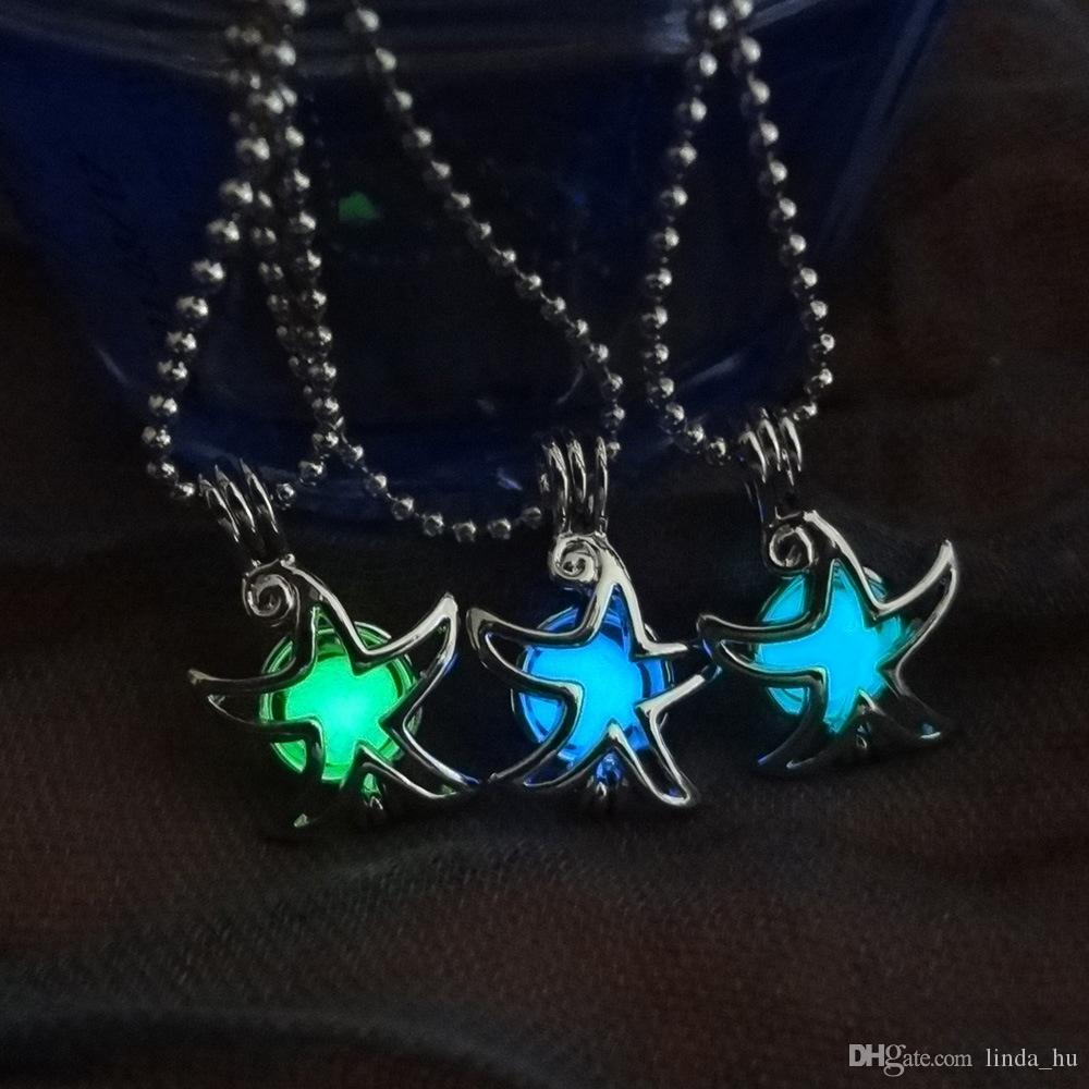 Collier pendentif en forme de perles lumineuses creuses étoiles Collier de Noël collier sphère lumineuse pendentif fluorescent printemps et en été