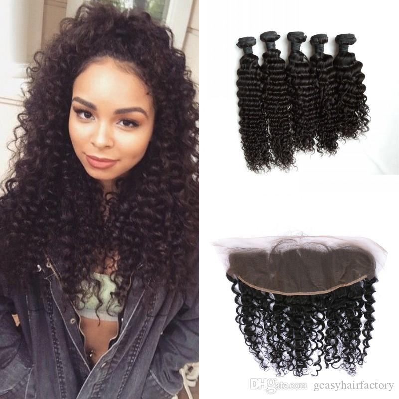 Hair Bundles With Lace Frontal Closure Mongolian Deep Curly Human