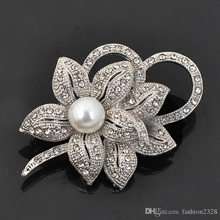 Vintage Look White Gold Clear Rhinestone Crystal Diamante Cream Pearl Center Flower and Bow Wedding Bouquet Brooch