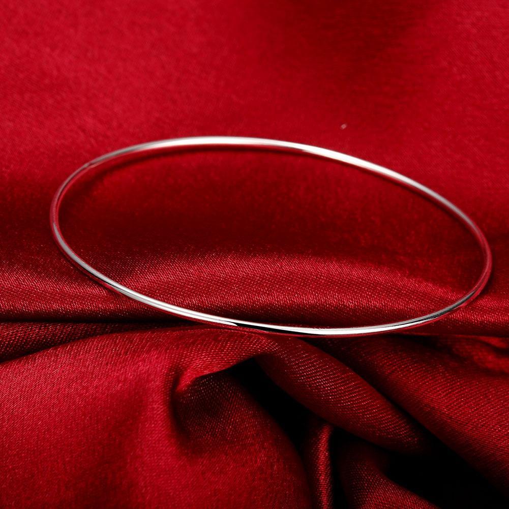 1.5MM Single Ring Bangle Bracelet 925 Jewelry Silver Plated Bangle Bracelet Simple Trendy Smooth Circle Brand Fashion Women Men's Jewelry