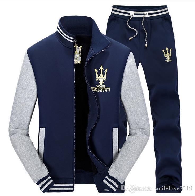 Fall 2016 men's casual sweater suit geometric print suit Korean baseball uniform collar spell color jacket + pants