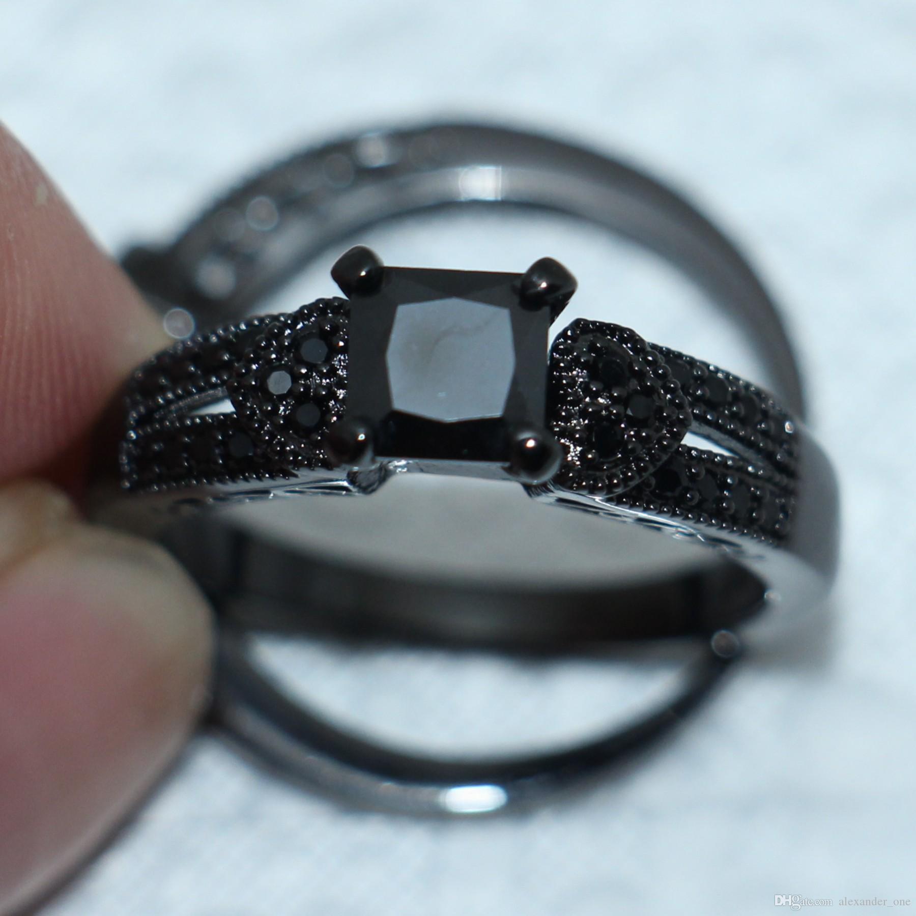 vendita all'ingrosso Moda tre-cuore nero diamante simulato CZ gioielli anello 10kt nero oro riempito Wedding Band Ring Set le donne taglia 5-10 regalo