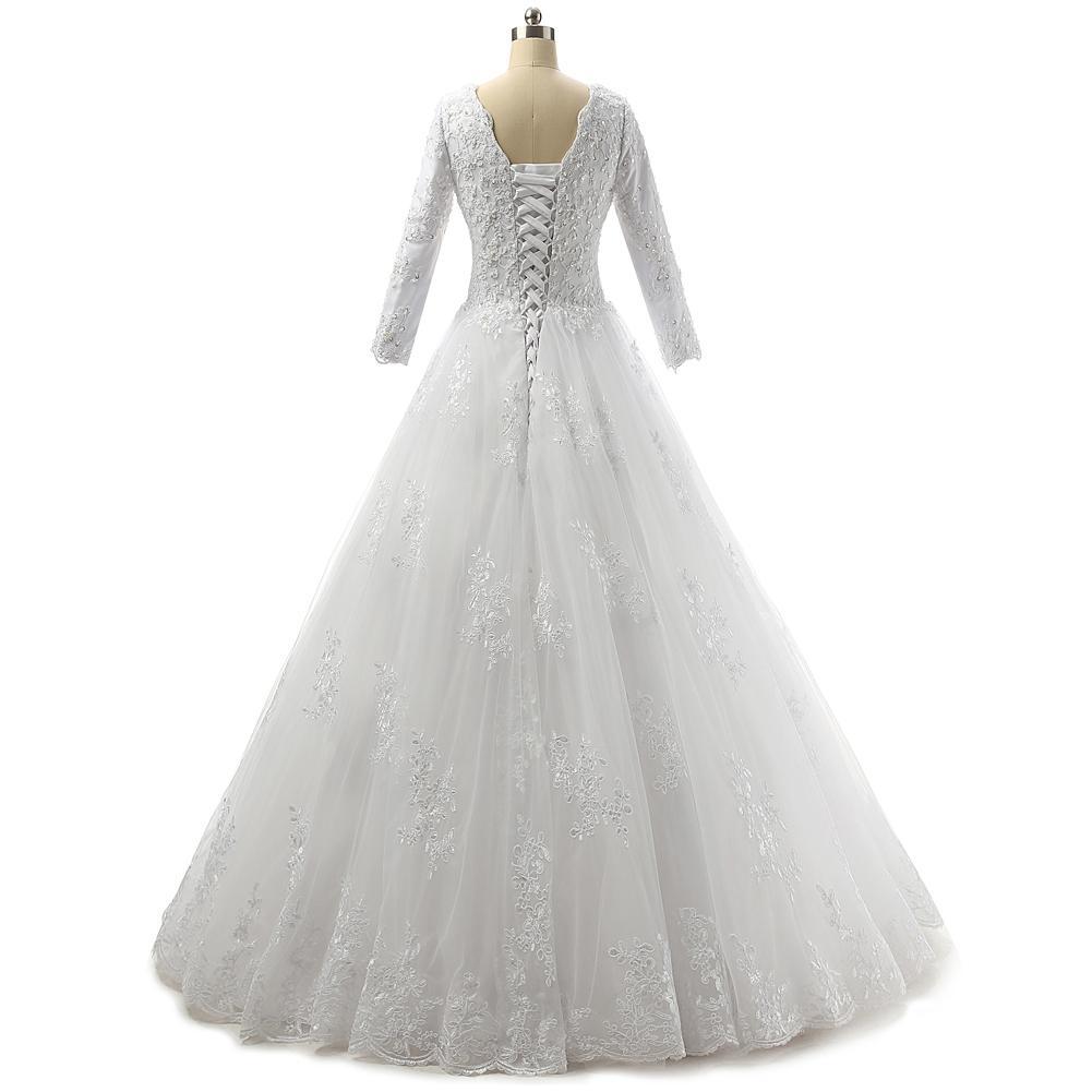 3/4 슬리브 2020 아플리케 웨딩 드레스 레이스 업으로 BATEAU 목 레이스 얇은 명주 그물 웨딩 드레스
