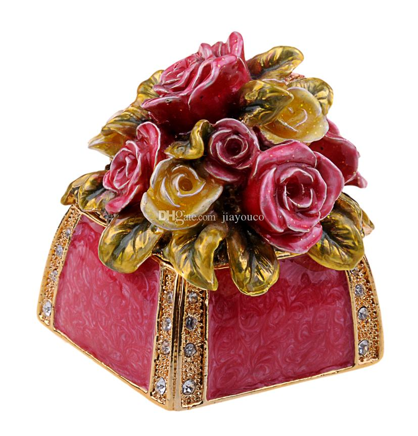 2018 Rose Flower Bejeweled Trinket Jewelry Box Metal Tabletop Jewelry  Organizer Souvenir Birthday/Mother Day/Valentine Dayu0027S Gift From Jiayouco,  ...