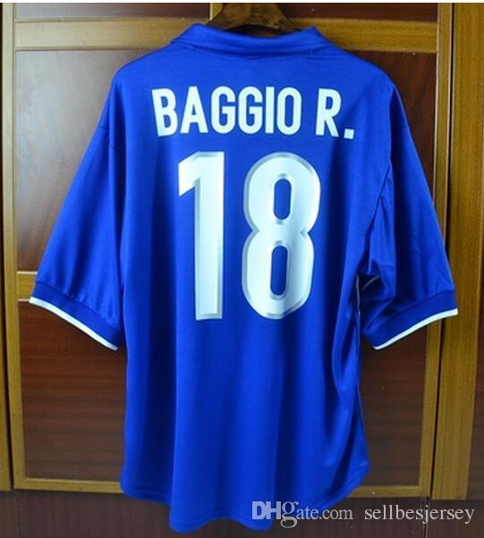 d818d46cd Acquista Blue Home 1998 Coppa Del Mondo Retro Maglia 98 WC Italia BAGGIO  Maldini Vieri Inzaghi Maglie Maniche Corte A  33.28 Dal Sellbesjersey