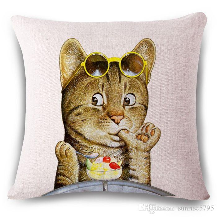 creative animal cushion cover fun lion pillow case for sofa couch cat home office cojines rabbit almofada