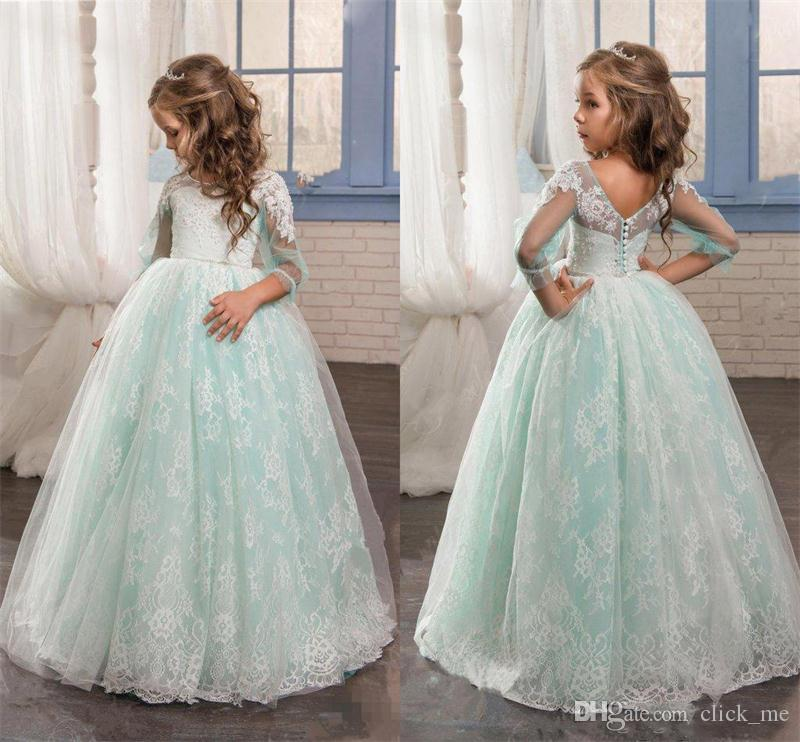 Romantic Mint Flower Girls Dresses For Weddings Lace Poet 3/4 Long ...
