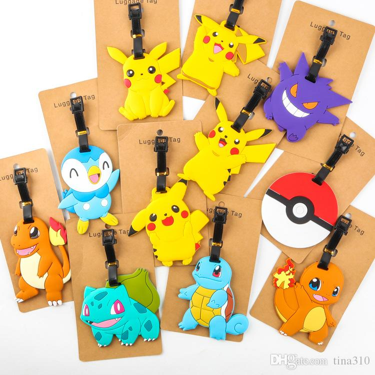 2017 New 11 Styles Poke Silicone Luggage Tag Pikachu Squirtle ...