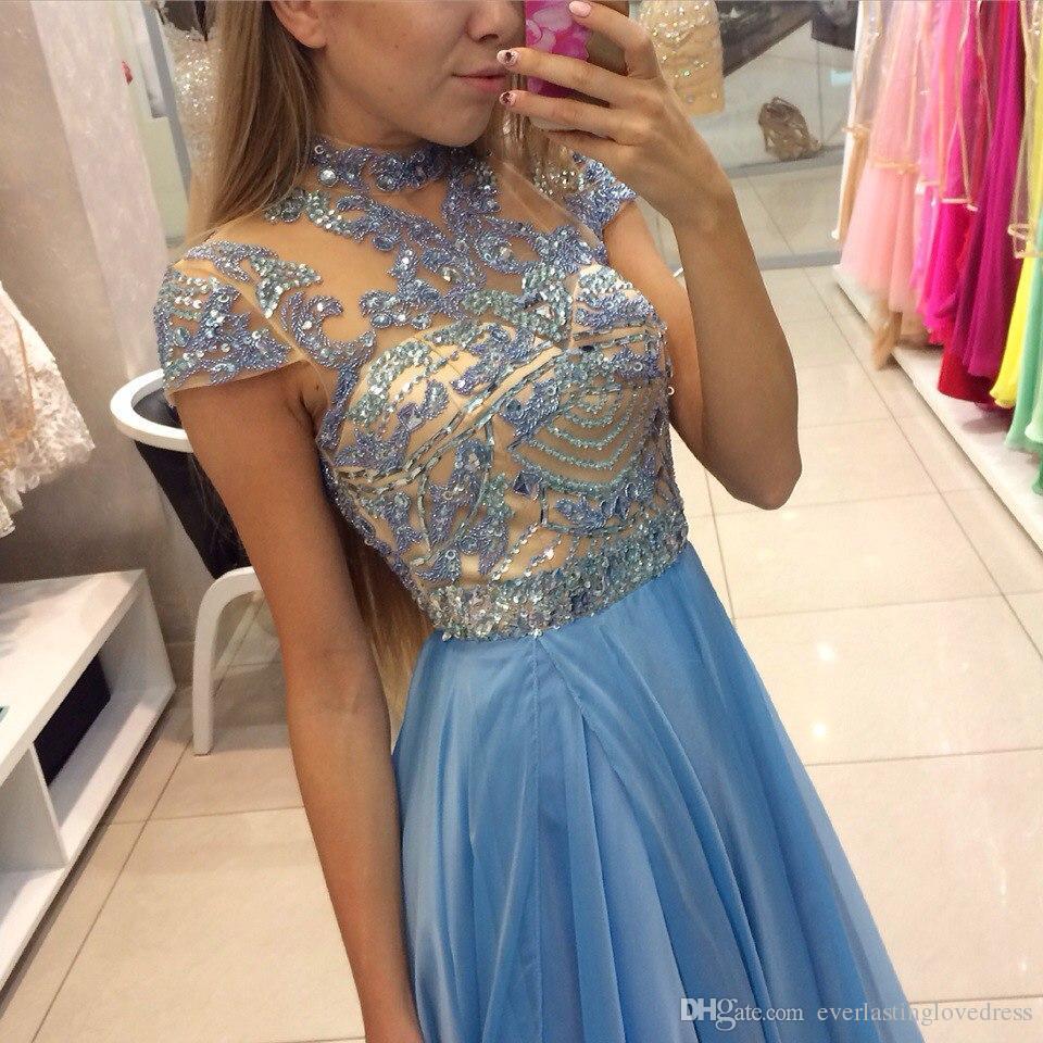 vestidos de noite vestido longo Prom Com o Crystal Beading Jewel Neck mangas Andar vestido de noite Comprimento Festa vestido formal
