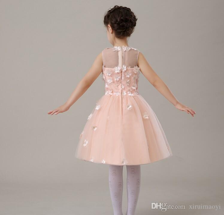 Nouvelles robes de demoiselle d'honneur pour appliques de mariage sans manches robe de princesse rose pâle eal Party Pageant Communion Bébé Fille Robes Infantiles