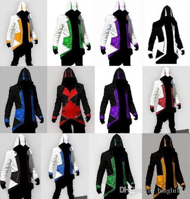 12 Colors Hot Sale Assassins Creed 3 III Conner Kenway Hoodie Coat Jacket Cosplay Costume