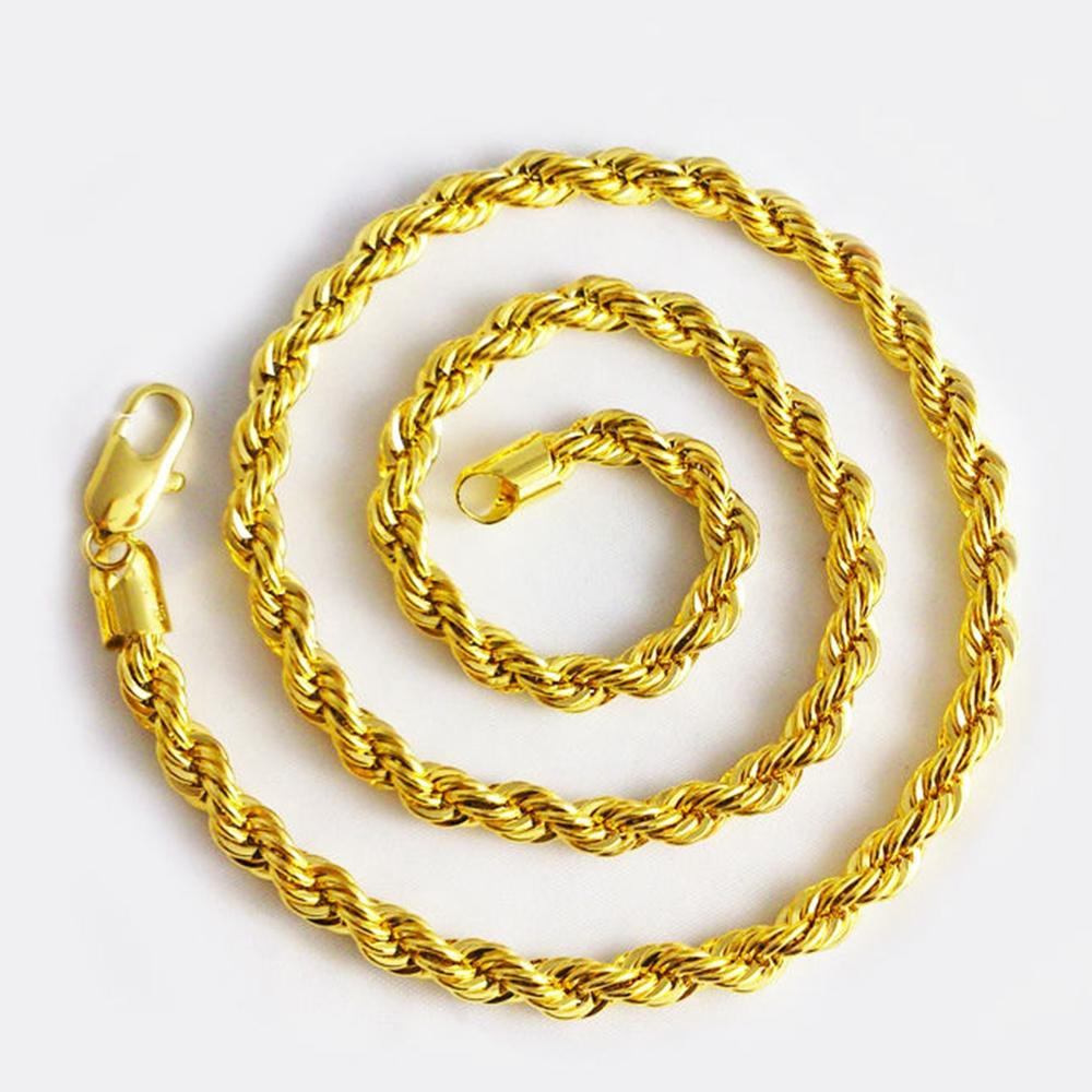 2018 Long Rope Chain 18k Yellow Gold Filled Twisted Knot Necklace