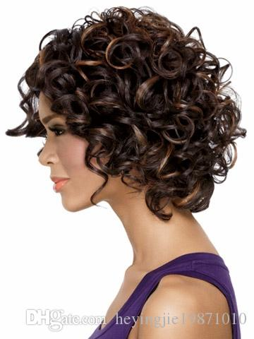 Xiu Zhi Mei Hot sell New Coming Multi Brown African American Short Curly Wigs For Women Heat Resistant Synthetic Pelucas Pelo Natural