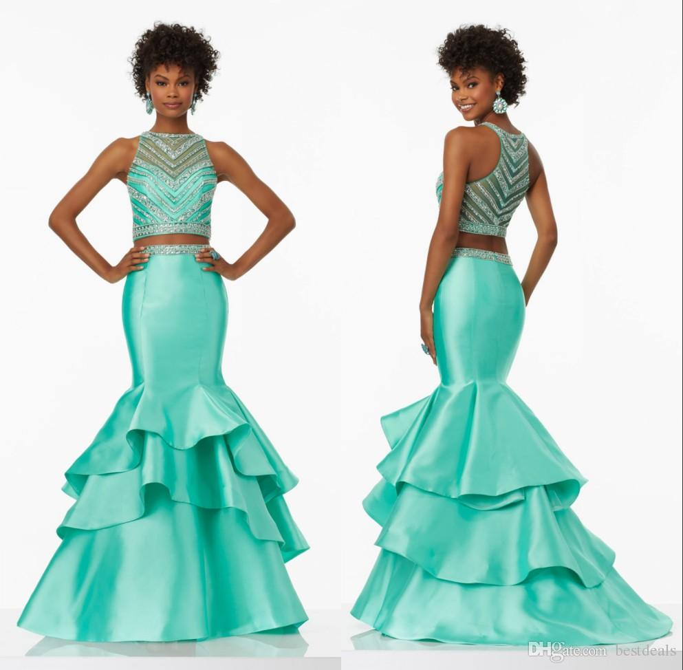 New Design Satin Mint Green Prom Dresses Mermaid Two Pieces Tiered ...