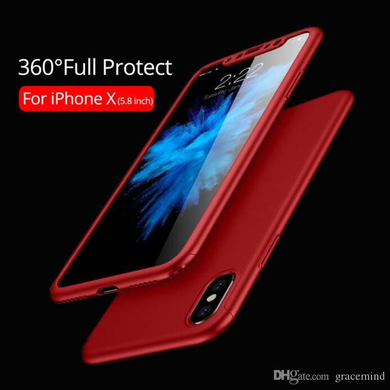 360 Degree Full Cover For Apple iPhone X Hard PC Full Body Case Glass Screen Protector