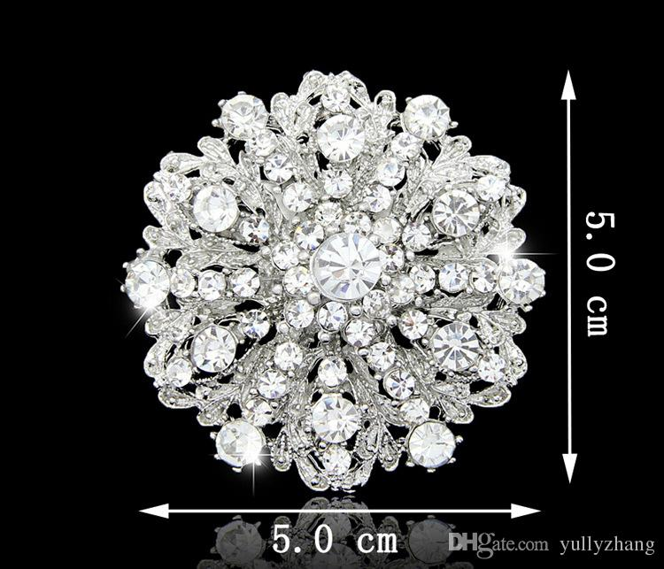 2016 ювелирные изделия блестящие красивые серебряные ясно женщины горный хрусталь Кристалл маленький цветок горный хрусталь брошь букет для свадьбы женщины булавки B027