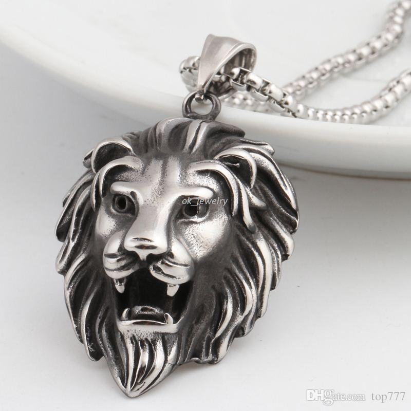Wholesale hip hop lion head pendant necklace for men luxury wholesale hip hop lion head pendant necklace for men luxury stainless steel male jewelry friendship gift silver bracelets silver chain from top777 aloadofball Image collections