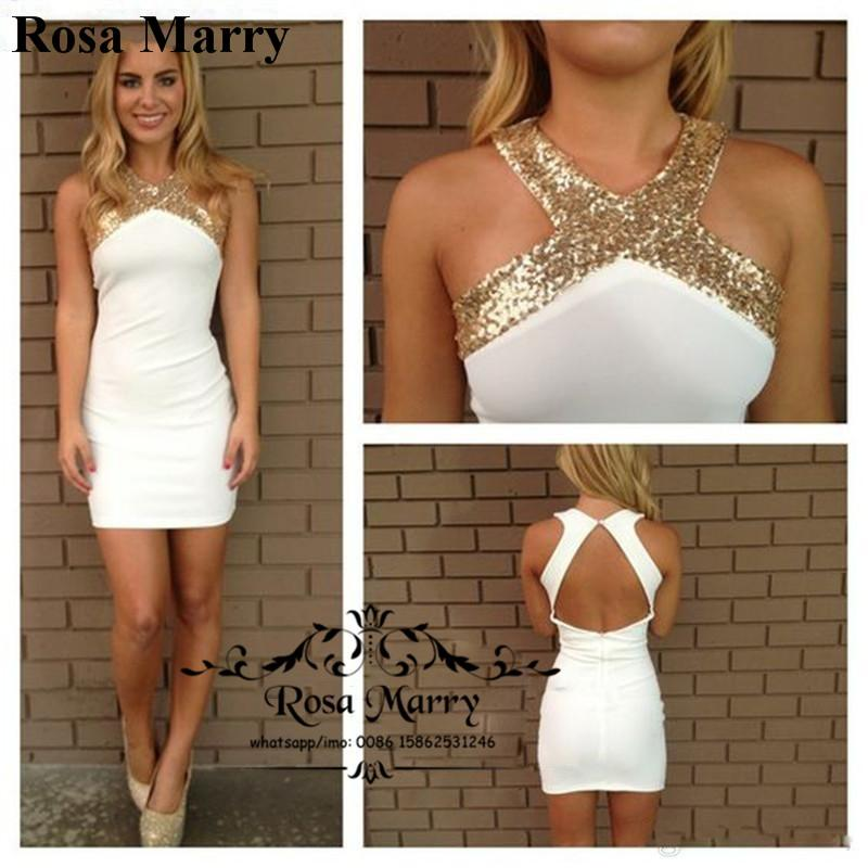 84c3b0a1278 Sexy White Gold Sequins Short Cocktail Party Dresses For Women 2017 Sheath  Keyhole Back Plus Size Knee Length Cheap Simple Prom 2K17 Gowns Cheap  Dresses ...