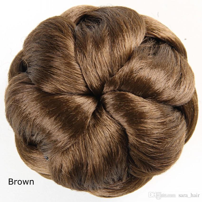 Sara Bride chignon Buns Donut Roller Hair Bun Extension Hairpieces 10*6CM Clip-in Jumbo Braids Synthetic hair chignon Bun High-quality