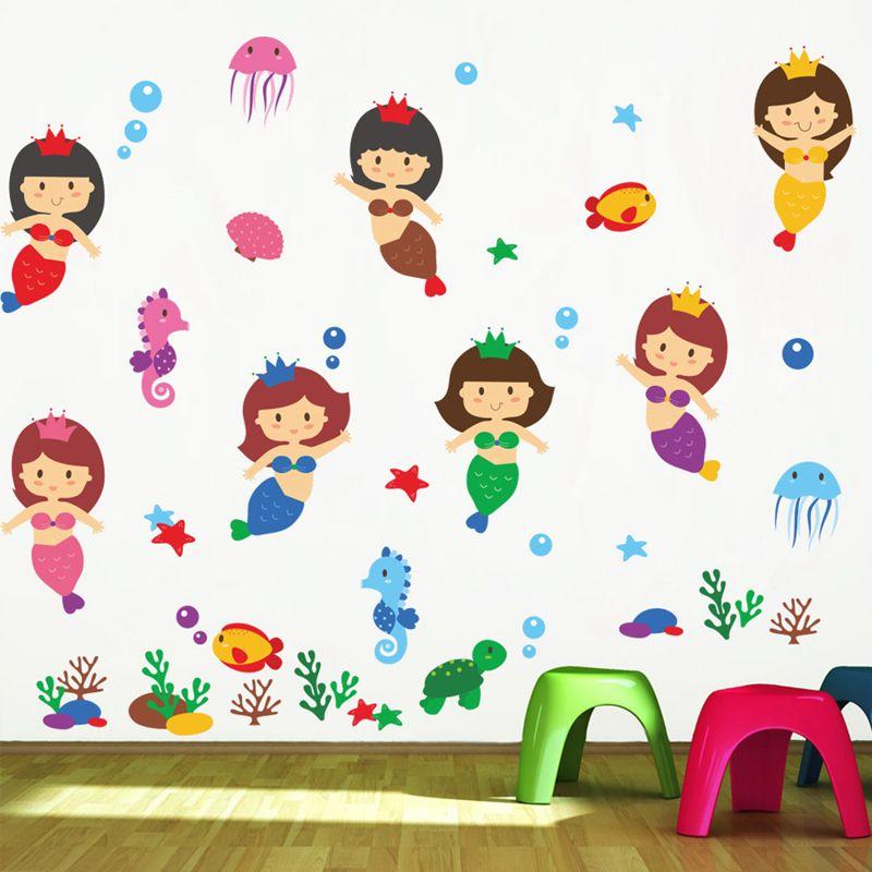 Cartoon Cute Mermaid Wall Stickers Childrens Room Kindergarten Wall