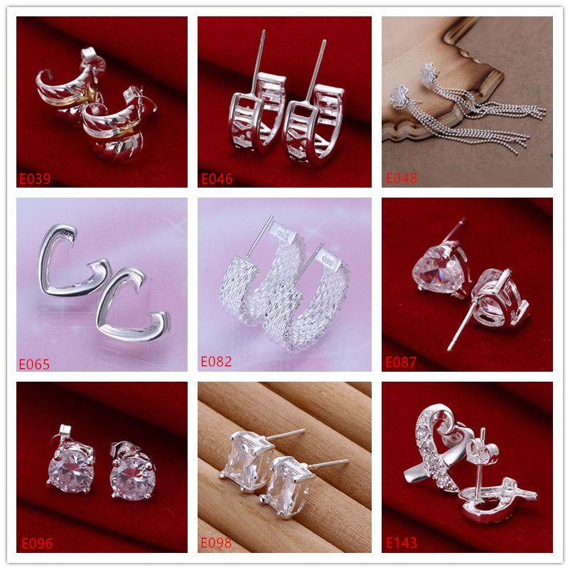 10 Paare diffrent Artfrauen 925 Edelstein Silber Ohrringe GTE4, hochwertige Art und Weise Großhandel Sterling Silber Ohrstecker