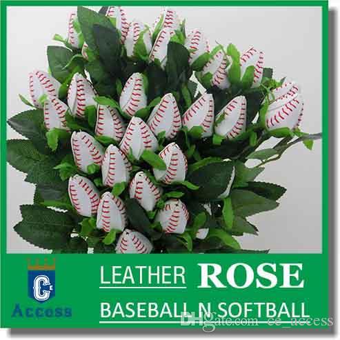 2017 costura de couro de beisebol softball rosa