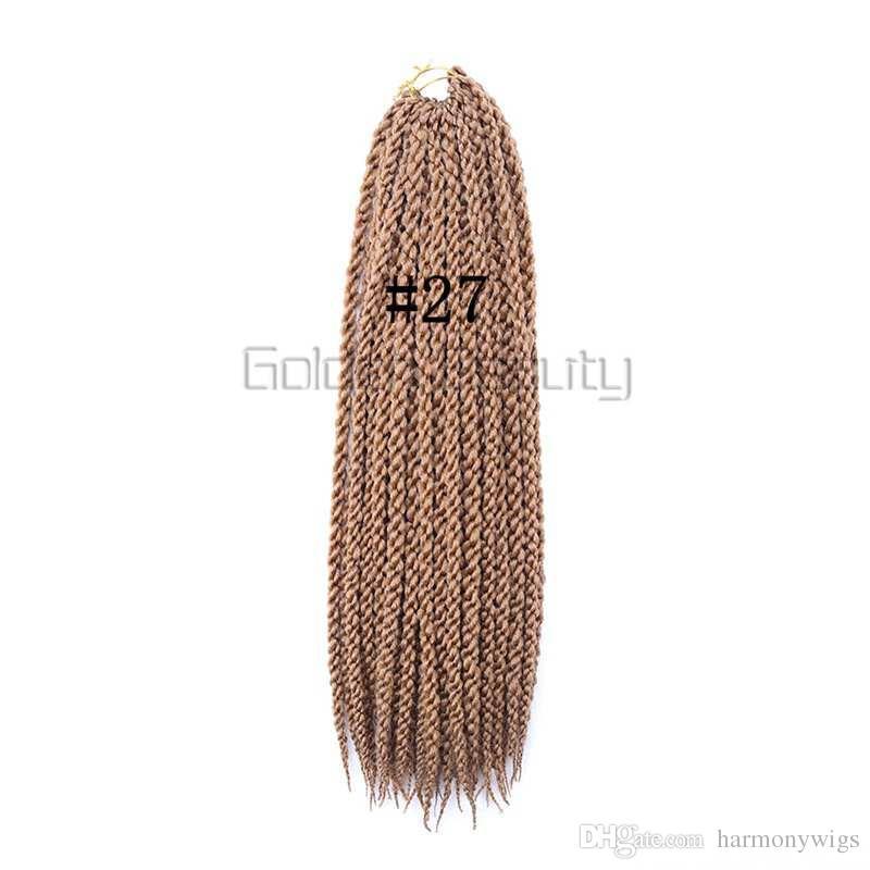 120g 22 pulgadas 3D trenzado cúbico Trenzado de pelo trenzado Crochet Havana Mambo Senegalese Twist Extensiones de cabello más colores
