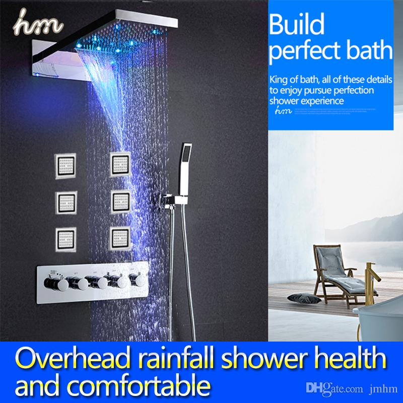 2017 New Design Led Shower Set Rainfall Waterfall Shower Head ...