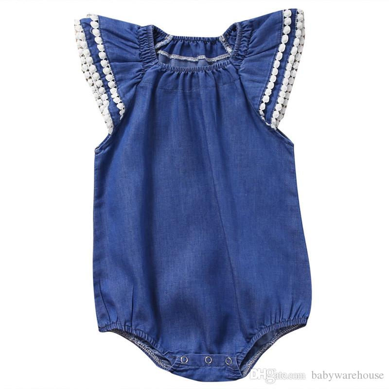 bf07bbc10aac 2019 Cute Newborn Baby Girl Clothes Lace Romper Infant Bebes Lace Jumpsuit  Denim Rompers Jumpsuit Sunsuit One Piece Outfits Summer Baby Clothing From  ...
