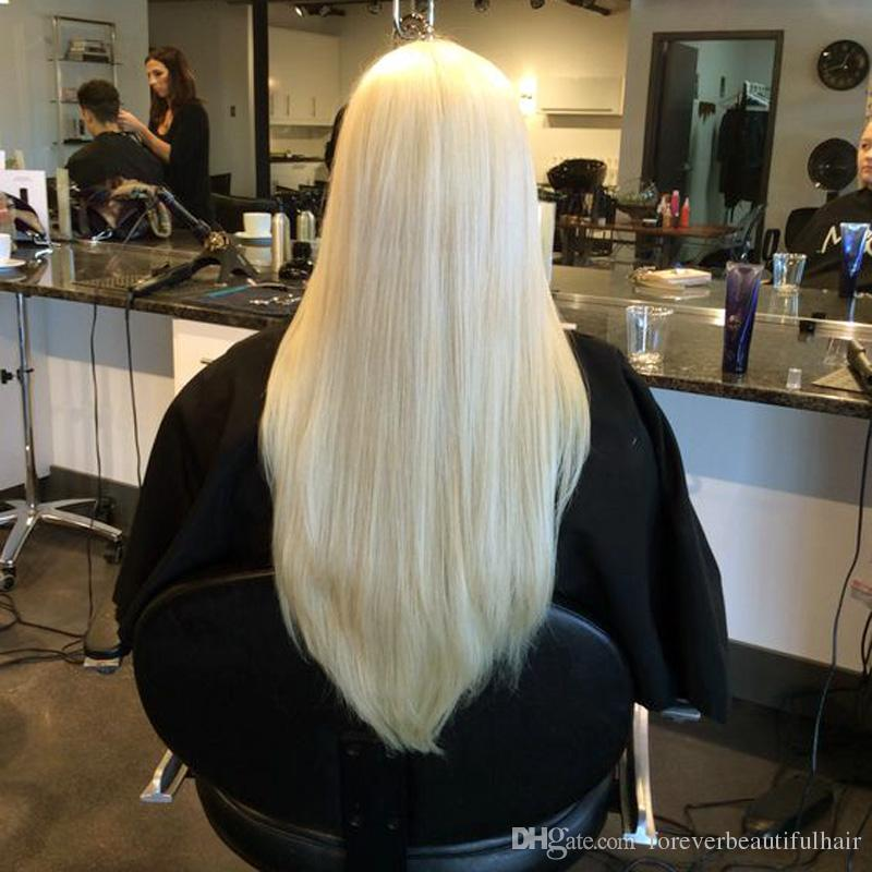 #60 Remy Straight Glueless Full Lace Platinum Blonde Human Hair Wigs Brazilian Virgin Hair Lace Front Human Wig With Baby Hair